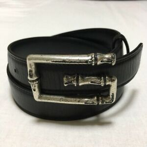 Gucci Women's Leather Belt Bamboo Buckle Black size 96cm 80/32