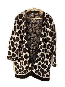 Mango, Animal Print Cardigan With Faux Leather Trims, Brown & White, Size Large