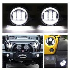 """4"""" INCH White Halo Front Bumper LED Fog Lights For 2007-2017 Jeep Wrangler JK"""