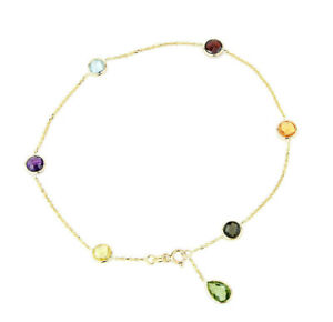 14K Yellow Gold Gemstone Anklet With A Green Amethyst Drop 10.5 Inches