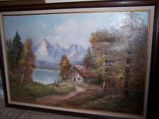 VINTAGE OIL PAINTING ON CANVAS TITLED SECLUSION SIGNED BY FAMOUS ARTIST CANTORNA
