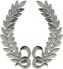"5"" Metallic Silver Olive Branch Laurel Wreath Crest Embroidery Patch"