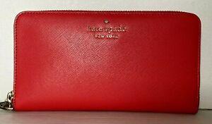 New Kate Spade New York Staci Large flat continental wallet wristlet Digital Red