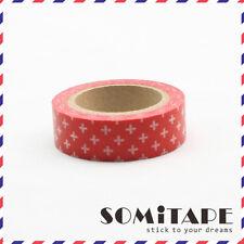 White Cross Rojo Washi Tape, Artesanales Decorativos Cinta