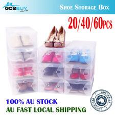SALE Foldable Clear Plastic Shoe Storage Box Stackable Home Organizer Wardrobe