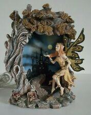 Very Rare Fairy Mystical Figurine Lighted with Tree Crystal Ball & Black Castle