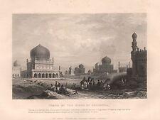 1860 antiguo de impresión de la India-tumbas de los Reyes de orejas