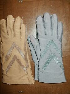 2 Pairs Vintage Isotoner Aris Stretch Driving Gloves Brown & Gray