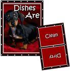 DOG DISHWASHER MAGNET (Dachshund - (Black & Brown) - Clean/Dirty *Ship FREE