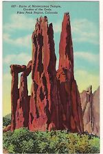 Ruins MONTEZUMAS TEMPLE Garden of the Gods Pikes Peak COLORADO Postcard CO