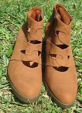 Gorgeous Brown Italian (Import) Leather Ankle Booties, Size 11 (EU 42) by Catja