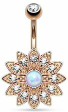 Body Piercing Crystal Flower Opal Gold Belly Button Ring Navel Barbell Jewelry