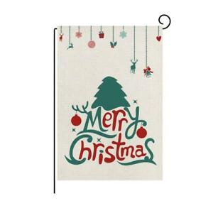 Merry Christmas Garden Flag Xmas Tree Flags Double-Sided Print Rustic Winter