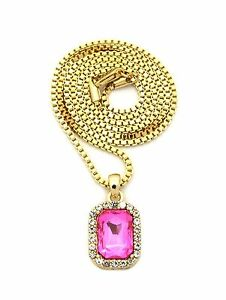 MENS  GOLD SQUARE GEM RED RUBY ONYX EMERALD YELLOW PINK BOX CHAIN NECKLACE