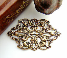 ANTIQUE BRASS Art Nouveau Scrolling Leaf & Flower Stampings Oxidized (FC-1)
