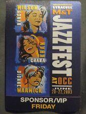 M&T Jazz Fest Friday Sponsor Vip Pass 2003 Nancy Wilson Chaka Khan Dionne warwic
