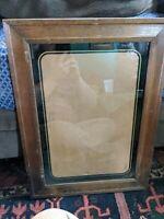 ANTIQUE CARVED WOOD PICTURE FRAME ART DECO GLASS VTG 20x14 OPENING VTG LARGE