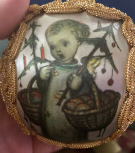 "Glass Ornament ~ Green ball with Silk Panel HUMMEL  4"""
