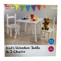 Mobel Kids Table & 2 Chairs Wooden Wood Furniture Childrens Bedroom Set White
