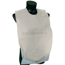 Disposable Adult BIB with Pocket, Self Adhesive Clothing Dining Protector