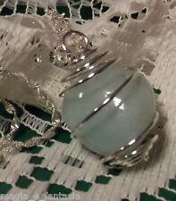 Collana con ACQUAMARINA cristalloterapia zen pietre mineral chakra argento nero