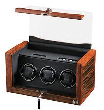 New High Quality VOLTA Ebony / Rosewood Automatic 3 Watch Winder Box