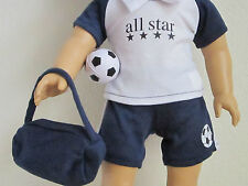 NAVY /& WHITE 4-piece SOCCER OUTFIT with Tote Bag /& Soccer Ball fit American Girl