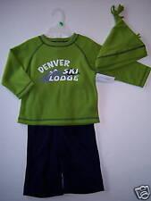 NWT Boys Denver Ski Lodge Fleece Shirt Pants Hat Set 2T