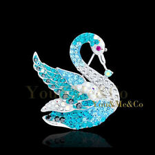 Opal Crystal Swan Brooch Pin 18k White Gold Ep Brilliant Cut