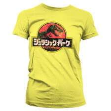 Officially Licensed Jurassic Park- Japanese Distressed Logo Women T-Shirt S-XXL