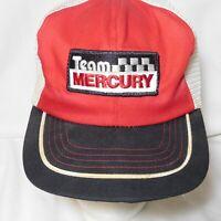 Vintage TEAM MERCURY Snapback Trucker Hat Cap Patch Mesh Foam USA