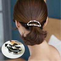 Fashion Hairpin Women Crystal Barrette Horsetail Clip Pearls Hair Accessories