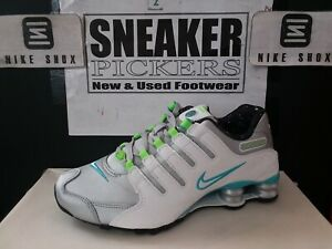 Nike Womens Shox NZ - 636088 024 - Metallic Silver / White - Blue - Lime - Sz: 6