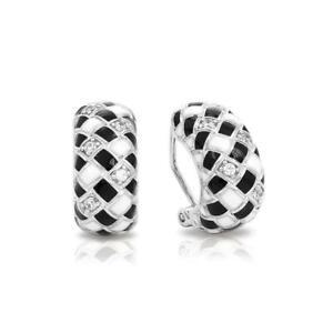 NWT Belle Etoile Harlequin Italian Enamel 925 Sterling Silver Earrings
