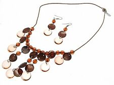 Beaded Necklace and earrings set Brown Jewellery Shell Jewellery AW52