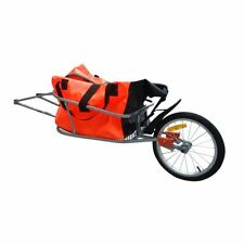 Outdoor Bike Bicycle Trailer Cargo Transport Cart One-wheel w/ Luggage Bag