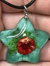 "Dried Flowers Red on Aqua Resin Star Charm 18"" Black Rope Necklace SF16"