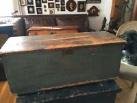 ANTIQUE 19th CENTURY NEW ENGLAND SEA CHEST PRIMITIVE GREAT BLUE PAINT & PATINA