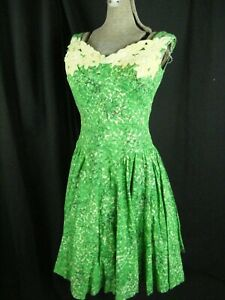 LILLI RUSSELL Vtg 50s Green Cotton Sun Dress w/Ivory Velvet Patch-Bust 34/2XS-XS