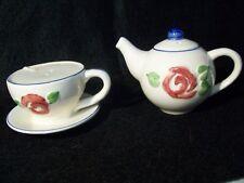 Ceramic Teapot & Teacup Salt & Pepper Shakers Floral Design
