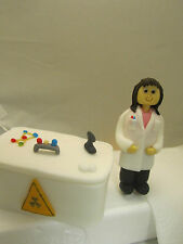 science themed,lady scientist and lab desk etc. edible birthday cake topper