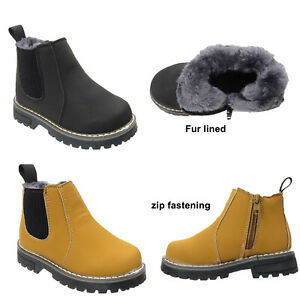 Kids Ankle Boots Boys Girls Winter Warm Snow Boots Chelsea Fur Lined Zip Shoes