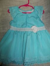 """""""LITTLE LASS"""" Dress,  Size 4T, Teal with White Lace, Underslip, Cut Outs,Flower"""