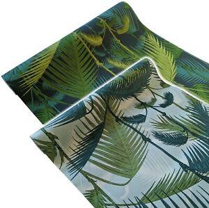 LIGHT DARK GREEN PALM LEAF FERN TROPICAL JUNGLE LEAVES NATURE PATTERN WALLPAPER