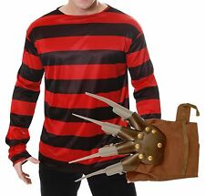 Freddy Freddie Krueger Elm St Halloween Fancy Dress Outfit Costume Jumper Glove