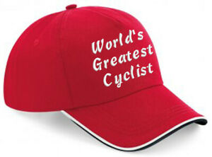 Embroidered World's Greatest..... Red/White/Black Piped Baseball Cap, Ideal Gift