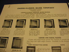 Owens-Illinois Vintage Glass Block Catalog Sheets Pittsburgh Corning 2 Lot