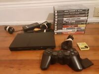 Sony PlayStation 2 PS2 Slim Video Game Console Bundle SCPH-77001 + 10 games