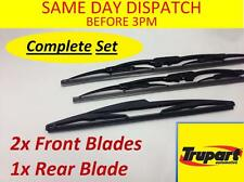 PEUGEOT 206 Van 01-06 Front & Rear Windscreen Wiper Blades X3 Complete Set