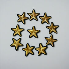 10Pcs Embroidery Gold Stars Sew Iron On Patch Badge Bag Hat Jeans Applique Craft